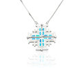Beautiful silver necklace decorated by turquoise in islamic symbol shape Stock Photos