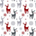 Beautiful simple christmas seamless pattern with silhouette of gorgeous deers and snowflake. Amazing winter holiday wallpaper for