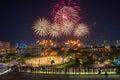 Beautiful Singapore national day fireworks at national stadium Royalty Free Stock Photo