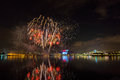 Beautiful Singapore national day fireworks at national stadium Royalty Free Stock Photo