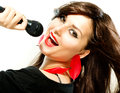 Beautiful singing girl beauty woman microphone over white Royalty Free Stock Photo