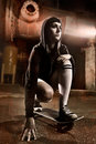 Beautiful skater teen girl Royalty Free Stock Images