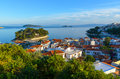 Beautiful skiathos island blue sea and mediterranean houses on greece Royalty Free Stock Images
