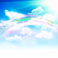 Beautiful sky clouds with rainbow Stock Photography