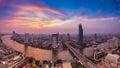 Beautiful sky panorama of chao phraya river curve bangkok thailand after sunset skylines with Royalty Free Stock Photo