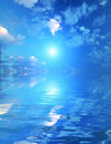 Beautiful sky with solar beams in reflection. Royalty Free Stock Photos