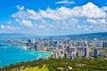 Beautiful Skyline of Oahu,Hawaii Royalty Free Stock Photo