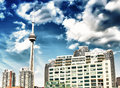 Beautiful skyline of toronto from lake ontario canada Royalty Free Stock Image