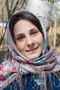 Beautiful slavic girl near the birch in moscow Stock Photos