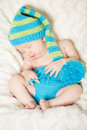 Beautiful sleeping infant baby on a blanket Royalty Free Stock Photography