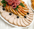 Beautiful sliced food arrangement Stock Photo