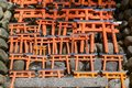 Small red torii gates at Fushimi Inari Shrine in Kyoto, Japan Royalty Free Stock Photo