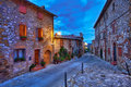 Beautiful small town in tuscany italy of montefollonico Stock Images