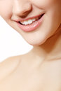 Beautiful smile of young fresh woman with great healthy white te teeth isolated over background Stock Image