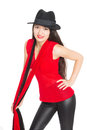 Beautiful smiling asian woman in a black hat mixed race caucasian girl Stock Photography