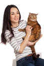 Beautiful smiling brunette girl and her ginger cat over white ba background Royalty Free Stock Images
