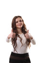 Beautiful smiling business woman standing against white backgrou background thumb up Stock Photography