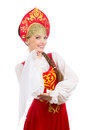 Beautiful smiling caucasian girl in russian folk costume Royalty Free Stock Photo