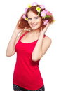 Beautiful smiling ginger woman in red cloth Stock Image