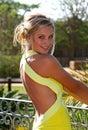 Beautiful smiling girl in garden Royalty Free Stock Image