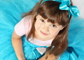 Beautiful smiling girl portrait studio shot from above Royalty Free Stock Photography