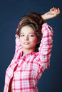 Beautiful smiling girl raised hands and look Royalty Free Stock Photos