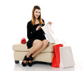 Beautiful smiling girl with shopping bags Stock Photo