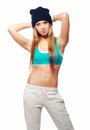 Beautiful smiling hip hop dancer posing in studio isolated on white Royalty Free Stock Images