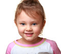 Beautiful smiling kid girl isolated on white closeup portrait Royalty Free Stock Image
