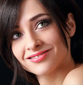Beautiful smiling makeup woman face closeup portrait Stock Photography