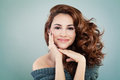 Beautiful Smiling Model Woman with Wavy Hairstyle Royalty Free Stock Photo