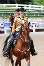 A beautiful smiling senior citizen rides a horse at the germantown charity horse show female jockey in annual in memphis tennessee Stock Photos
