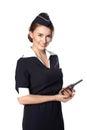 Beautiful smiling stewardess with cb radio