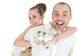Beautiful smiling wedding couple over white background Royalty Free Stock Photography