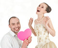 Beautiful smiling wedding couple over white background Stock Photography