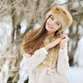 Beautiful smiling winter girl outdoor portrait outdoors Royalty Free Stock Photos