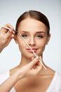 Beautiful Smiling Woman With Beauty Face. Eyebrows Correction Royalty Free Stock Photo