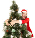 Beautiful smiling woman hugging fir tree money Royalty Free Stock Photos