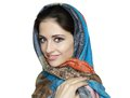 Beautiful smiling woman in shawl Royalty Free Stock Image