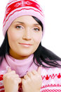 Beautiful smiling woman in a winter hat Royalty Free Stock Photos