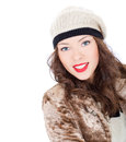 Beautiful smiling young woman in a coat on white background Stock Images