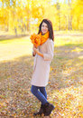 Beautiful smiling young woman with yellow maple leafs in sunny autumn Royalty Free Stock Photo