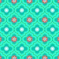 Beautiful pastel green decorated Morocco floral seamless pattern