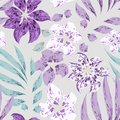 Beautiful softness tropical floral vector seamless pattern. Purple and white flowers with leaves on gray background.