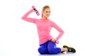 Beautiful sort girl doing fitness exercise with dumbbells Stock Image