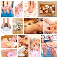 Beautiful spa massage collage background relaxing people Stock Photo