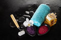 Beautiful Spa Set with Spa Products, Towel and Hot Stones. Horiz
