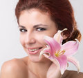 Beautiful spa woman beauty portrait touching her face Royalty Free Stock Images