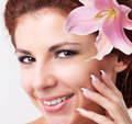 Beautiful spa woman beauty portrait touching her face Royalty Free Stock Photography