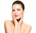 Beautiful spa woman touching her face beauty portrait Stock Images